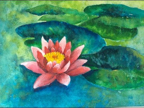 How to paint a water lily with watercolor easy step by for Painting on water tutorial