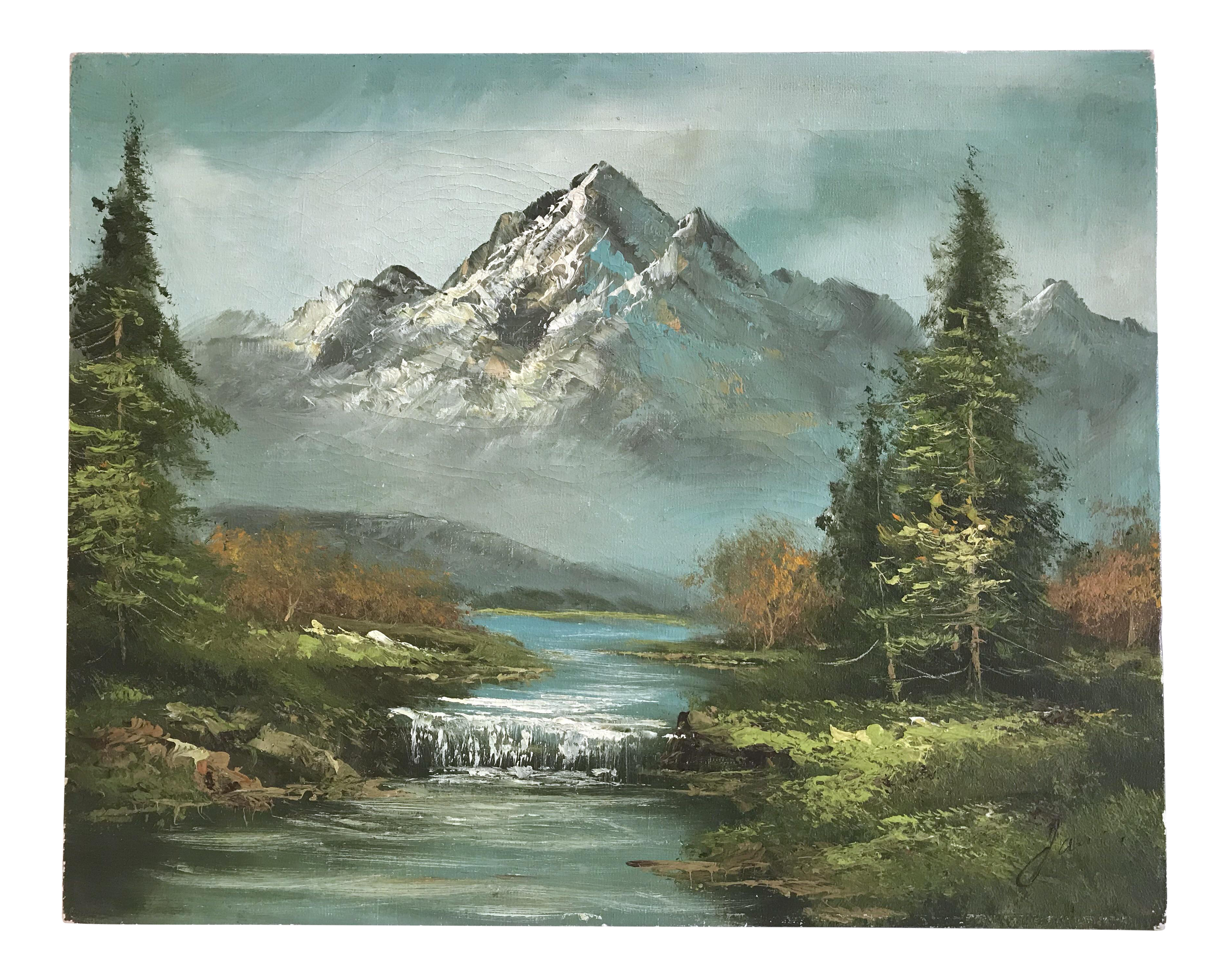 Oil Painting Of Mountain Stream On Chairish Com Mountain Paintings Oil Painting Landscape Landscape Paintings