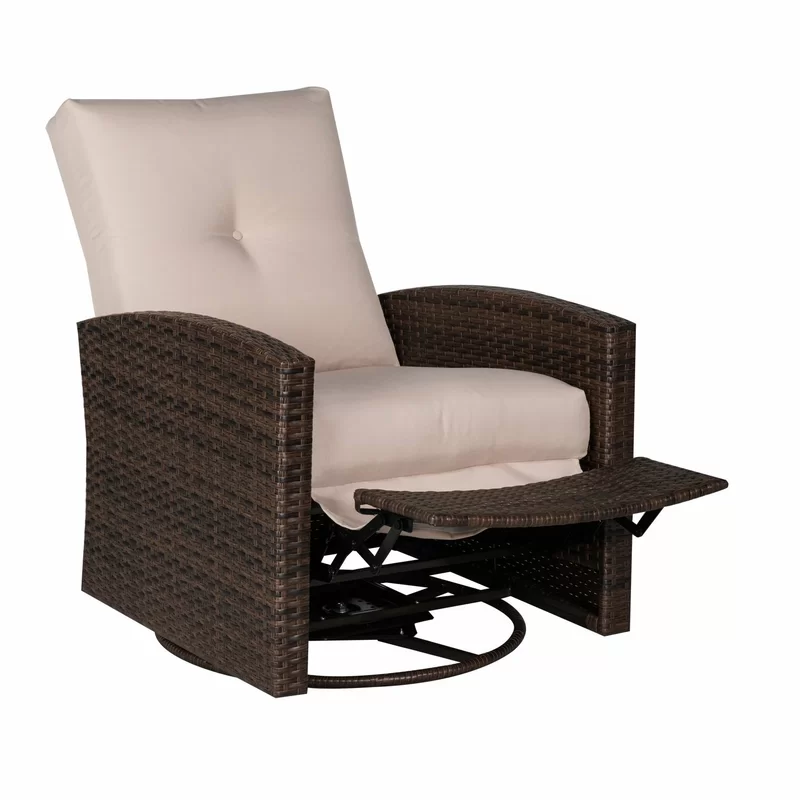 Deluxe Swivel Patio Chair With Cushions Patio Chairs Wicker Swivel Chair Outdoor Recliner