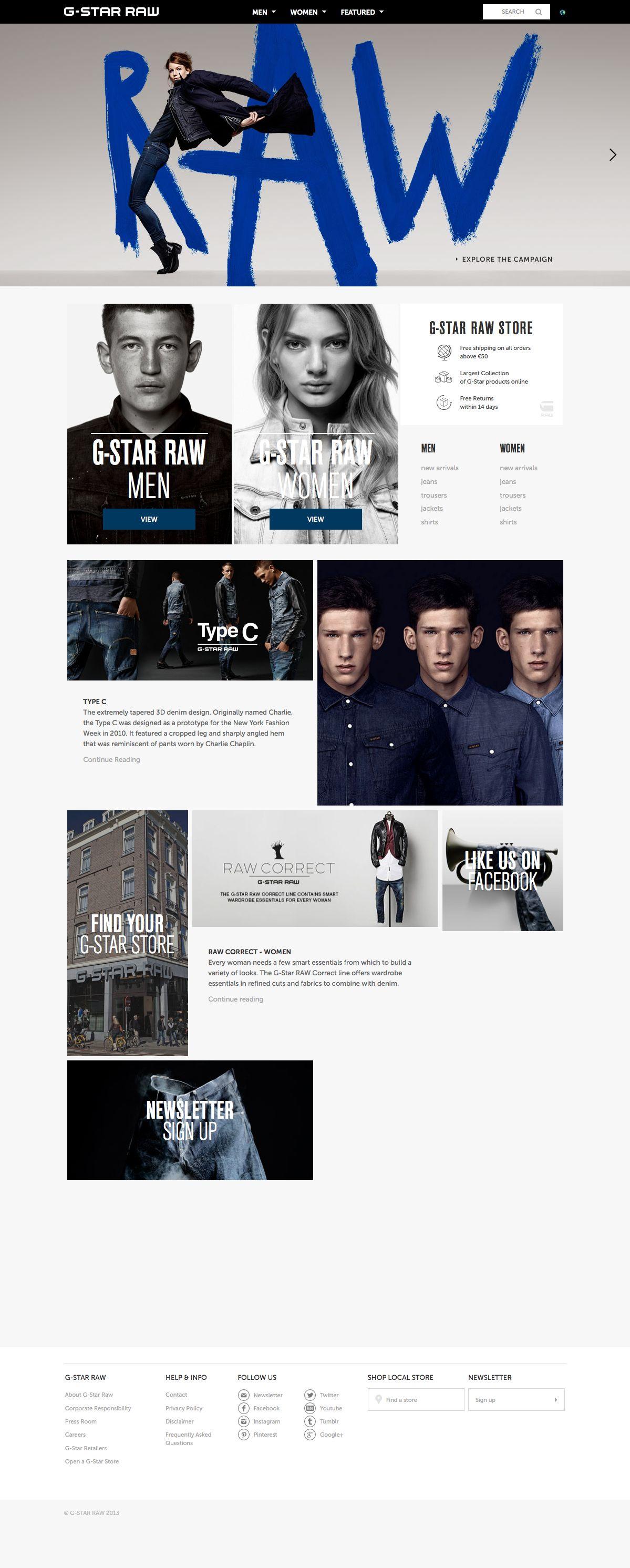 0183a1ce31e G-Star RAW DENIM The Official Online Store | Web Design / Digital ...