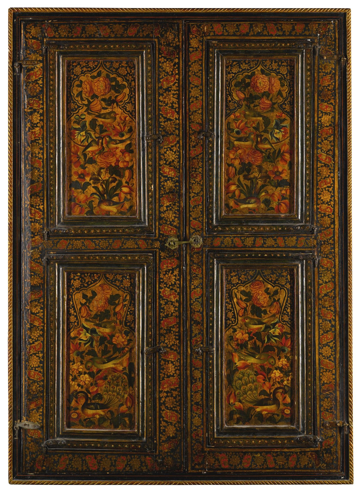 A Qajar lacquered and mirrored window frame, Persia, 19th century ...