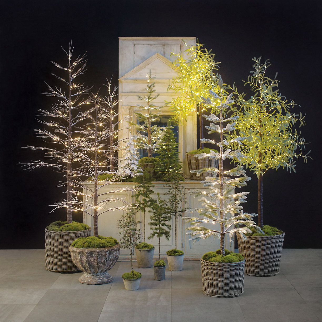 Faux Potted Sparse Pine Tree