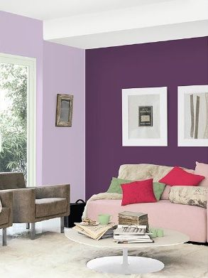 Two Shades Dark Purple As A Feature Wall Light Purple For The Opposing Walls Bedroom Wall Colors Light Purple Bedrooms Feature Wall Bedroom