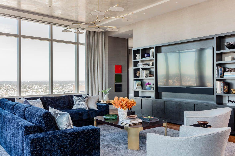 living room boston furniture designs for millennium tower elms interior design plush sectional sofa and custom bookshelves entertainment unit