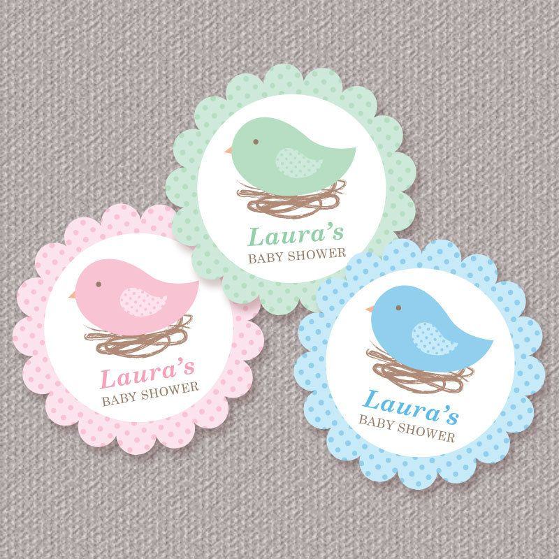 Personalized Bird Nest Baby Shower Cupcake Toppers, Favor Tags or ...