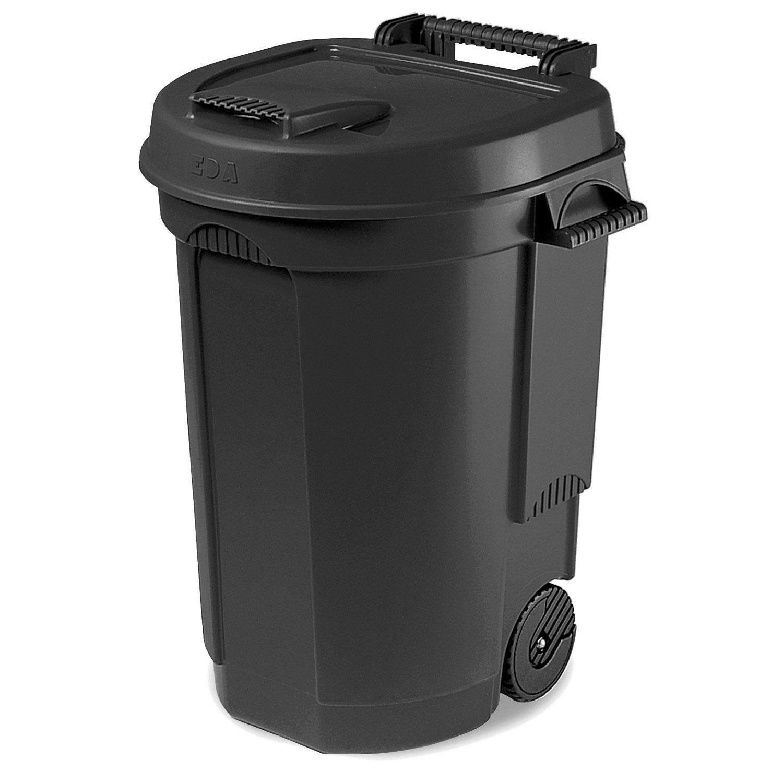 Poubelle Container 110 L H 81 X L 58 X P 55 Cm Eda Poubelle Exterieur Poubelle Poubelle Noire
