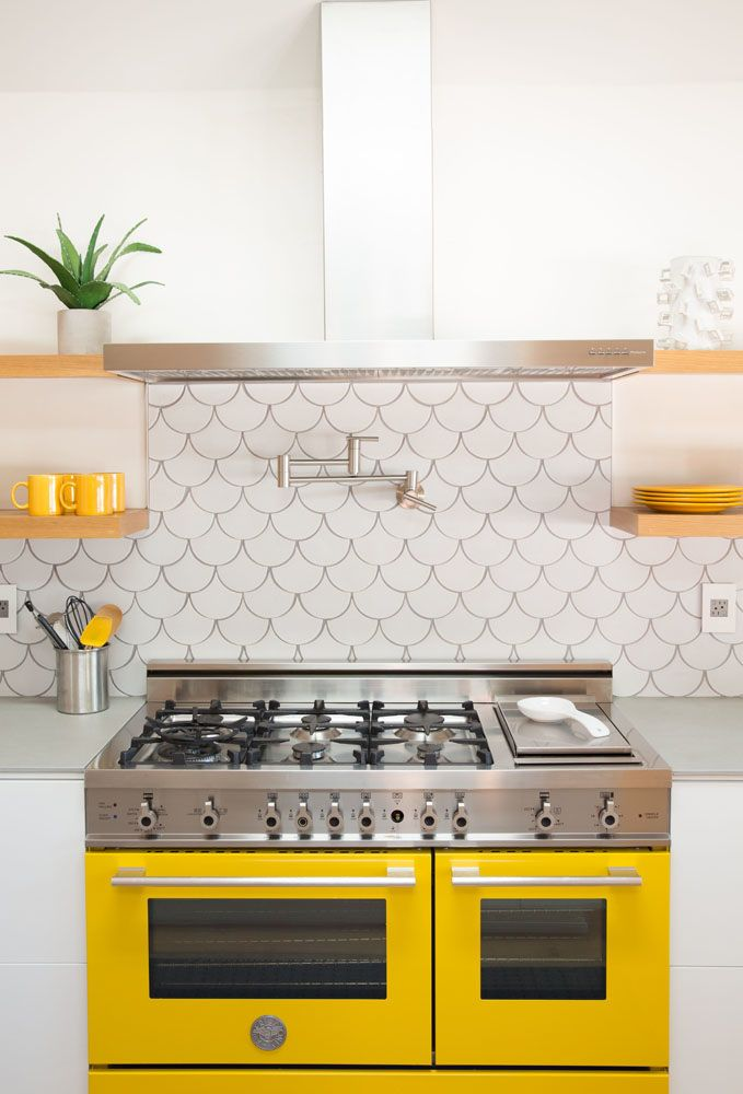 Bright Kitchen Design With Pop Of Yellow Oven And Scallop Tile Design Amy Sklar Design Yellow Kitchen Kitchen Colors Kitchen Tiles