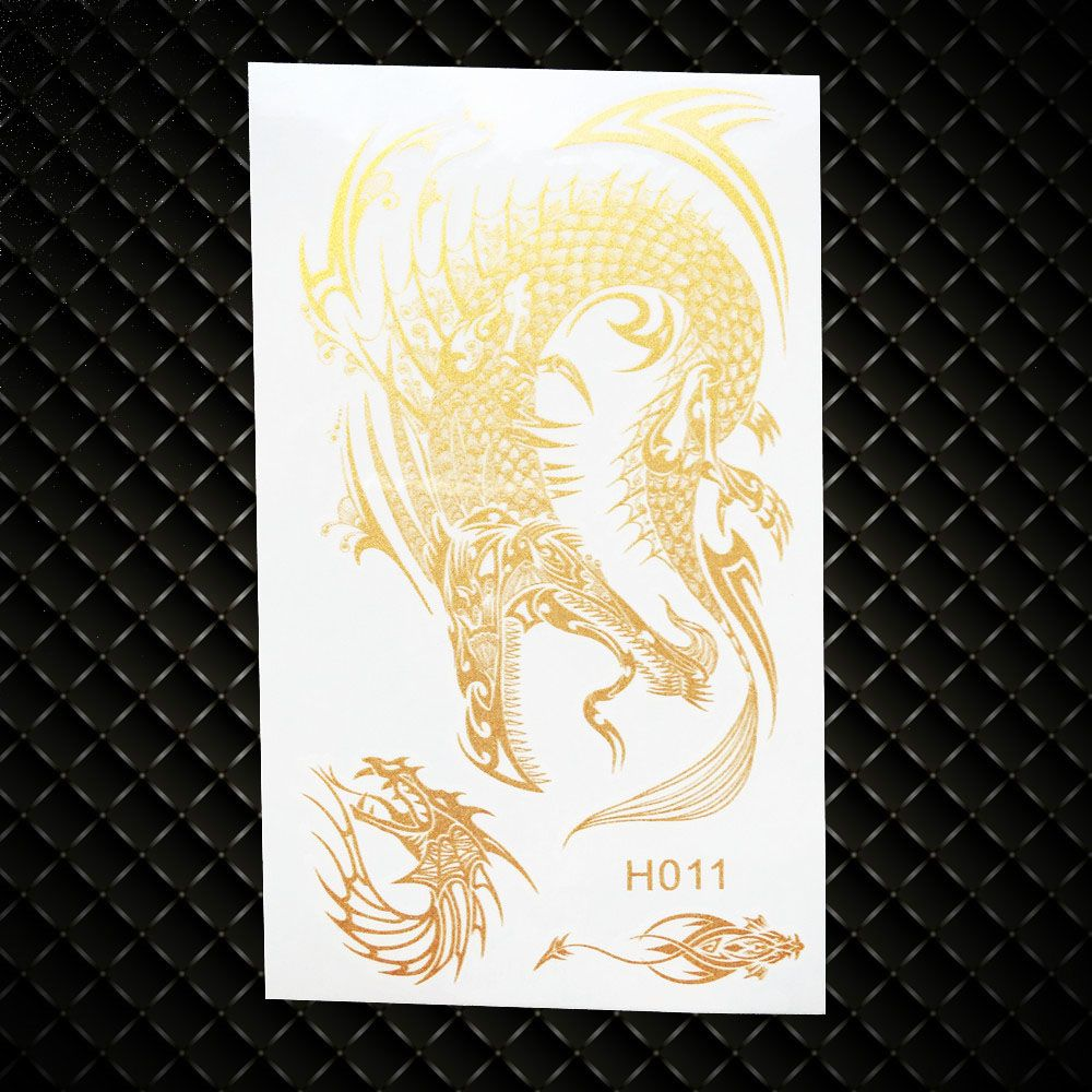 Tattoos for men with kids cool gold dragon waterproof temporary metallic tattoo stickers kids