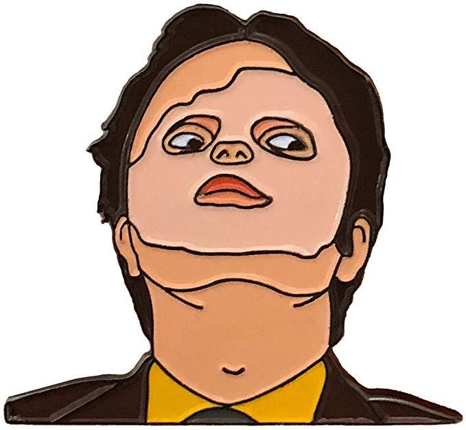 Amazon Com Balanced Co Dwight Schrute Mask Enamel Pin Rainn Wilson Pin Clothing Cat Coloring Book Dwight Dwight Schrute