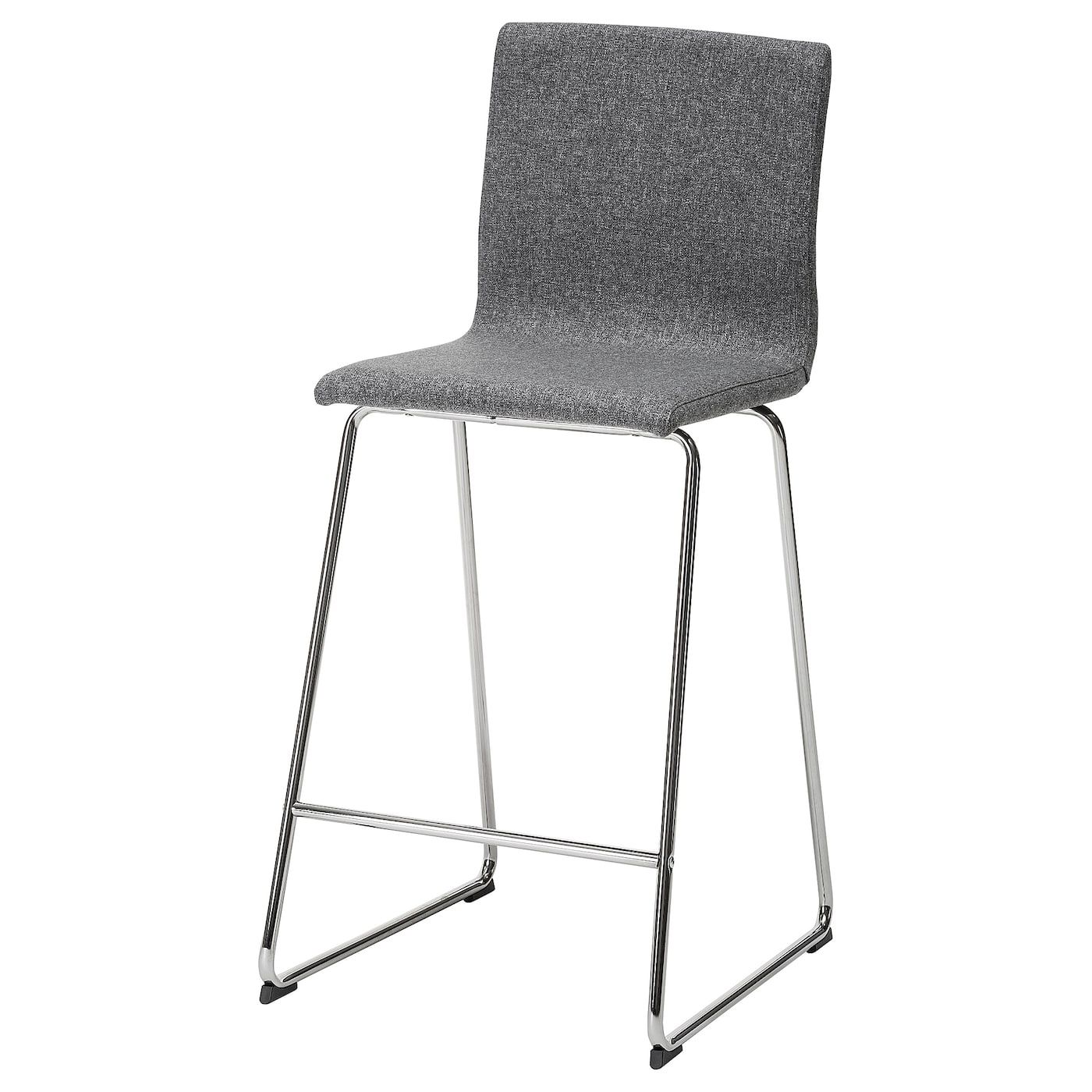 IKEA VOLFGANG Bar stool with backrest chrome plated