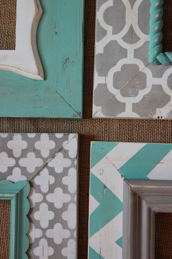 Distressed frames set of modern funky pattern in grey and turquoise table top or wall hanging - Funky bed frames ...