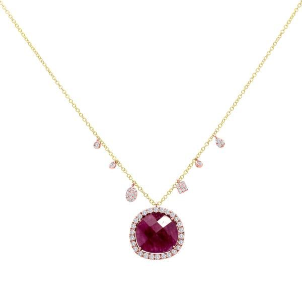 We love Rubies. They are great for Spring Summer Fall and Winter. This Meira T ruby and yellow gold necklace is accented with a halo of diamonds and beautiful Meira T charms. Diamond Weight: .40ct Gemstone Weight: 7.40  1n9409yr