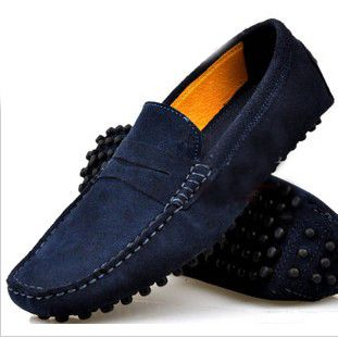Navy Real Smooth Cow Leather Slip On Driving Moccasin Loafer Shoes