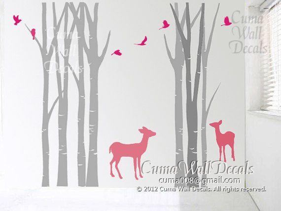 Baby nurseries ideas. & tree wall decals deer birds nature forest Vinyl wall decals animal ...