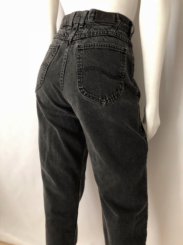 584f4ab0 Vintage Women's 80's Black, Lee Jeans, High Waisted, Tapered Leg, Denim (M)  by Freshandswanky on Etsy