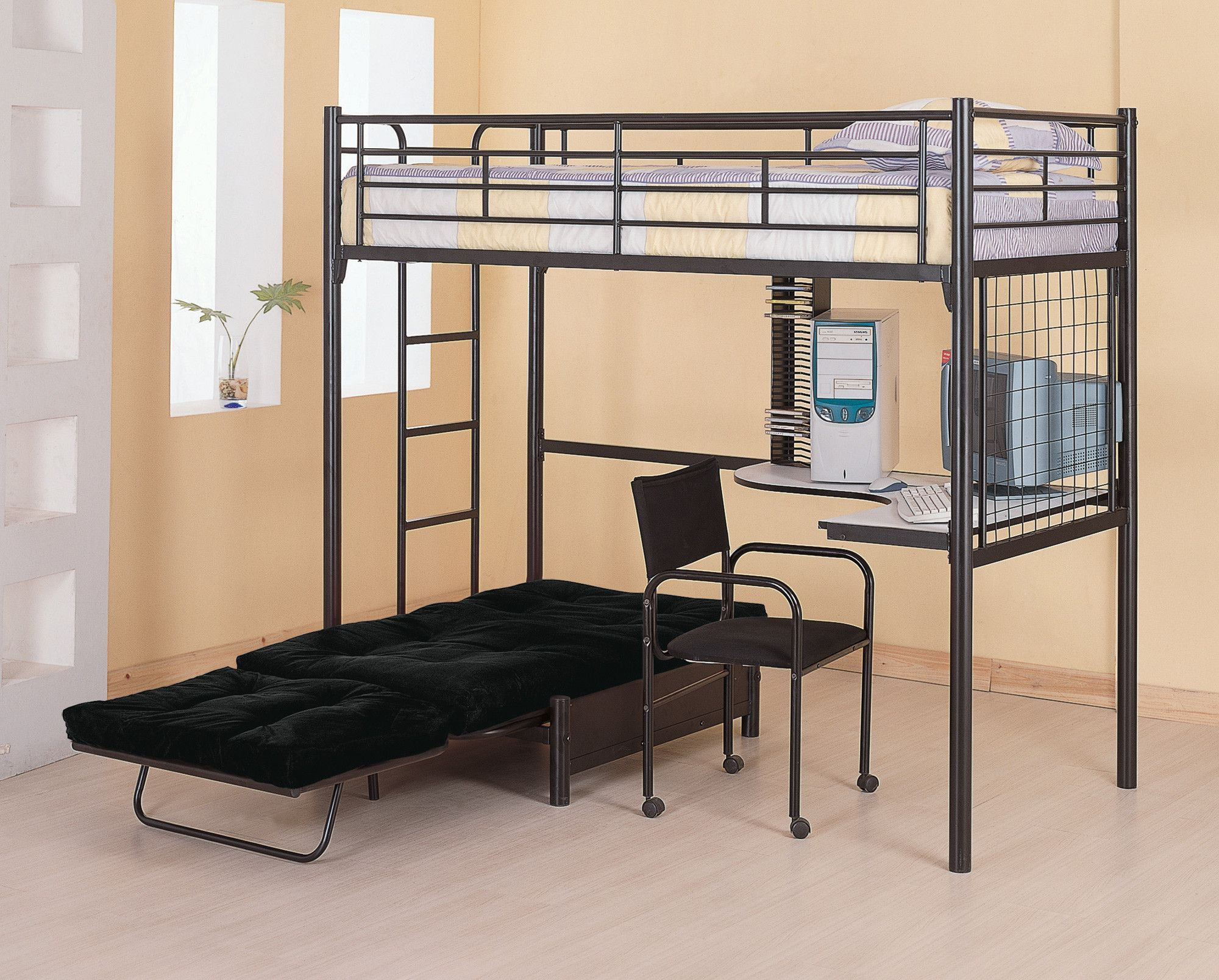 bunks twin loft bunk bed with futon chair u0026 desk