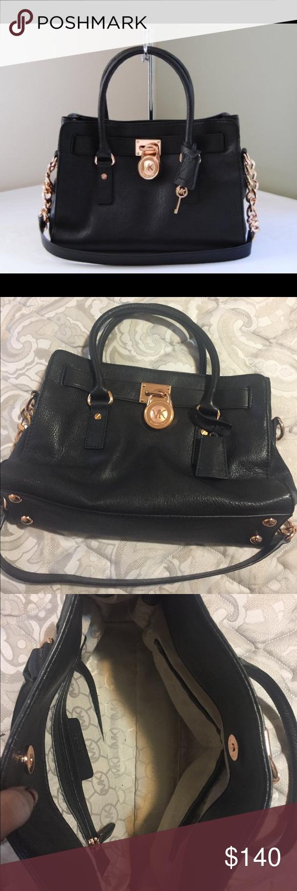 d4c158031e60e7 Michael Kors Black and Rose Gold Hamilton Gorgeous black leather satchel  handbag with rose gold hardware ...