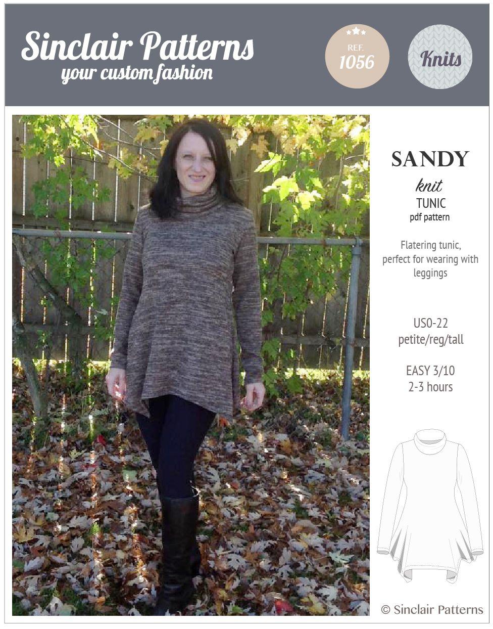 PDF Sewing Patterns Sinclair Patterns Sandy knit tunic (PDF ...