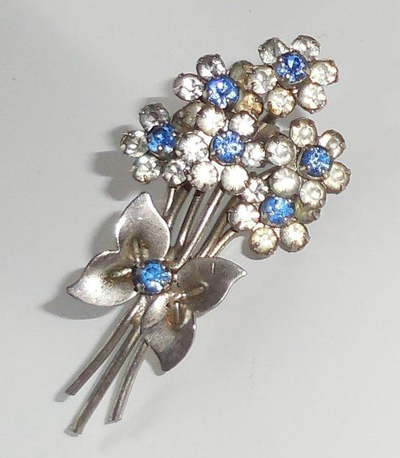 c2308e15532 So Pretty FLORAL BOUQUET Vintage BROOCH, Art Deco Sparkling Rhinestone  Flower Brooch, Vintage Bunch Of Flowers Jewellery, Lovely Gift!
