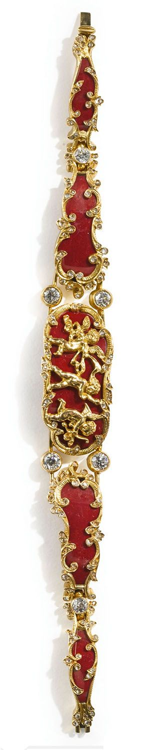 A FABERGÉ JEWELED GOLD-MOUNTED PURPURINE BRACELET, WORKMASTER MICHAEL PERCHIN, ST. PETERSBURG, CIRCA 1890, the curved purpurine panels applied with gold frolicking putti and bordered by gold diamond-set scrolls, the links set with diamonds, struck with Cyrillic workmaster's initials, 56 standard, contained in later case length 6 1/2 in. (16.5 cm)