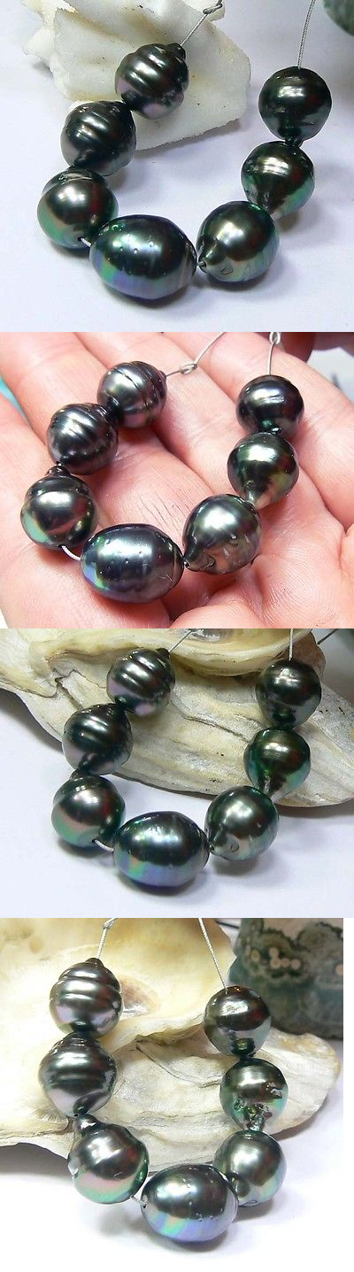 Pearl 10243: 7 Rare Genuine Black Tahitian South Sea Pearls High Luster 11 X 12-14Mm Baroque BUY IT NOW ONLY: $239.0