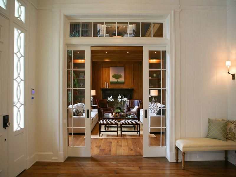 Traditional Family Room Using White Sliding French Interior Doors
