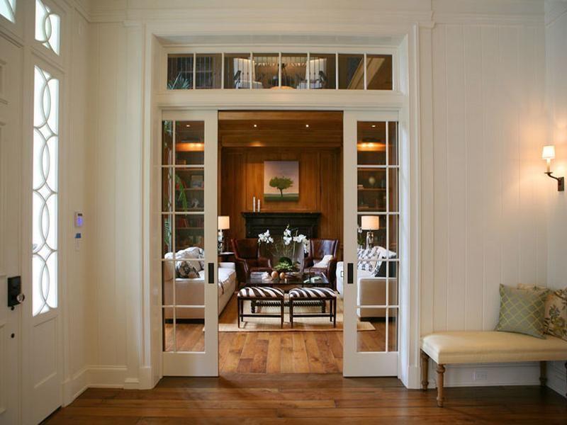 Traditional Family Room Using White Sliding French Interior Doors Near Cream Bench On Hardwood Flooring French Doors Interior French Pocket Doors Home