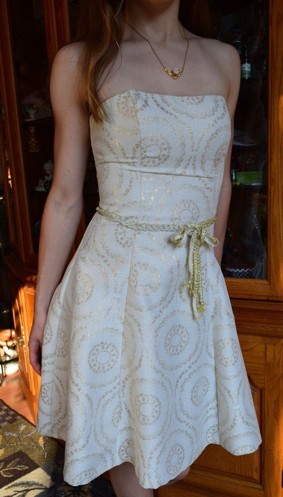 Awesome great de laru sheila yen dress white gold party evening prom