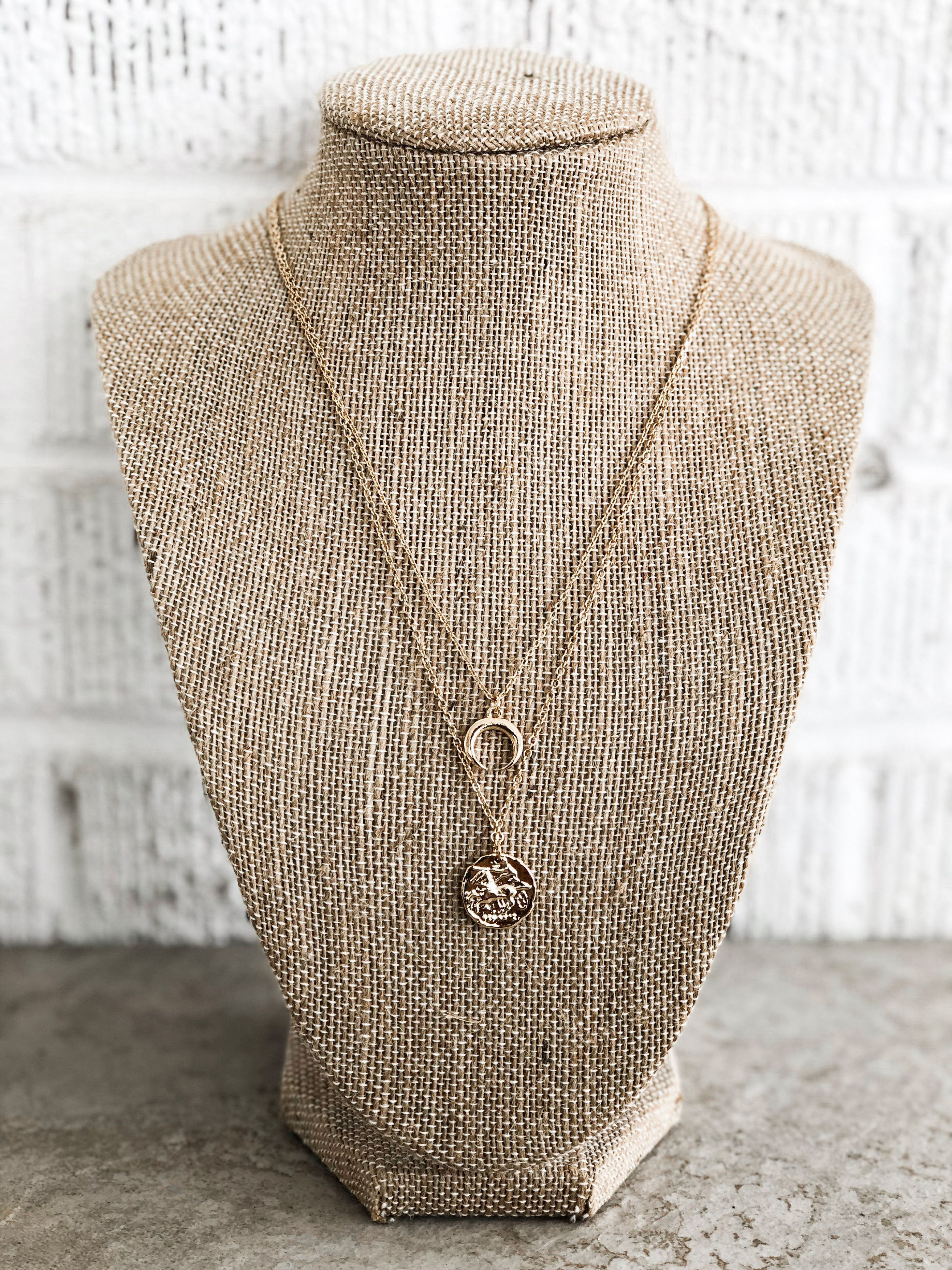Gold Double Layered Chain Aztec Design Tassel Bohemian Indie Pendant Necklace