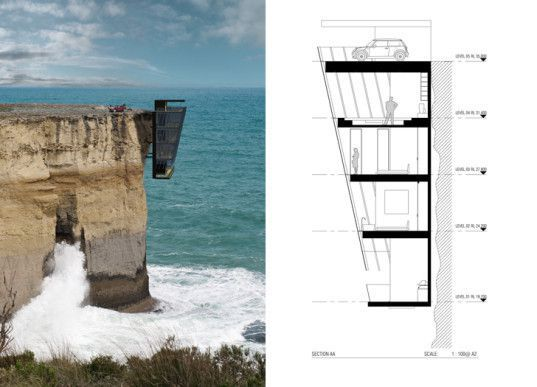 Modular Cliff House Hangs Perilously Over a Cliff's Edge in Australia - shore of Indian Ocean