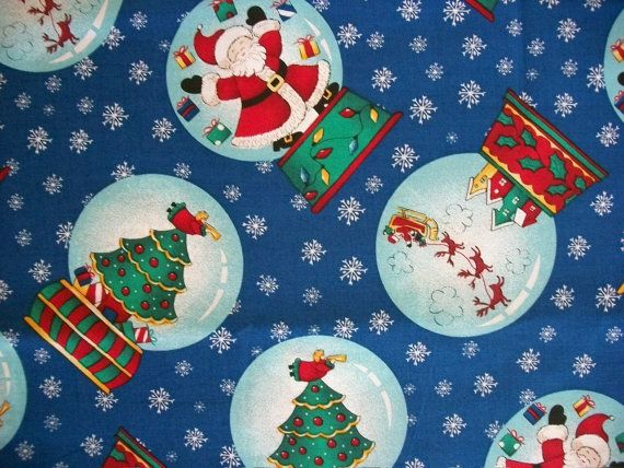 Christmas Fabric By The Yard Santa Trees by NeedlesnPinsStichery
