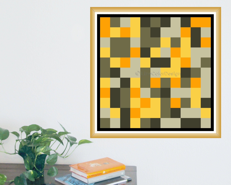 Geometric Printable Artwork 24x24 Inch Downloadable Orange Etsy Printable Artwork Geometric Printable Geometric Art Prints