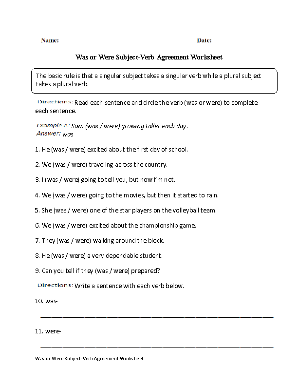 Was Or Were Subject Verb Agreement Worksheet Englishlinx Board
