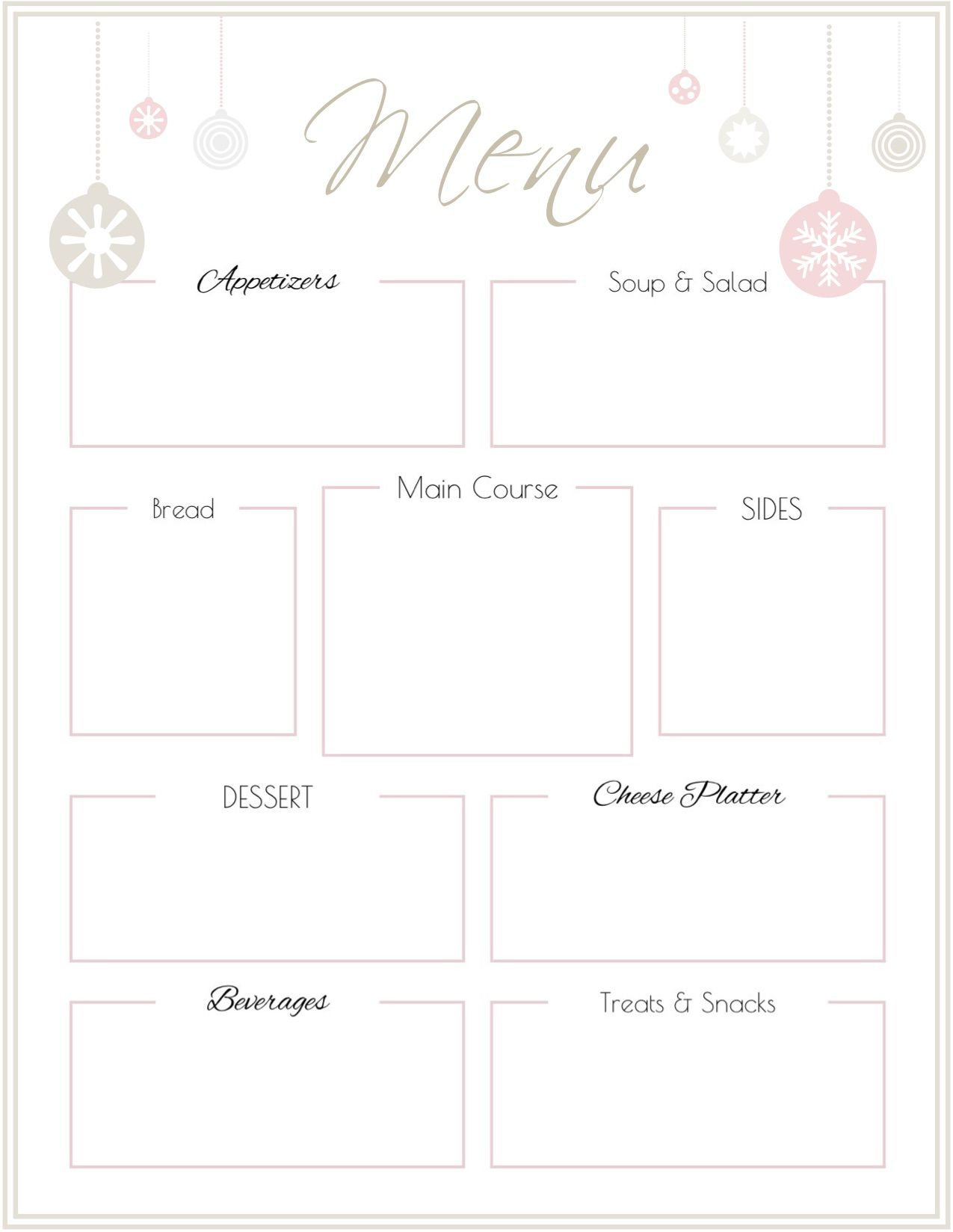 Holiday Party Menu Template Free Printable Printable Menu Template Free Printable Menu Template Free Printable Menu