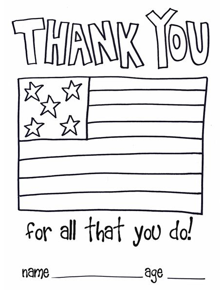 Children thank you color page soldiers and as a thank for Veterans day thank you letter template