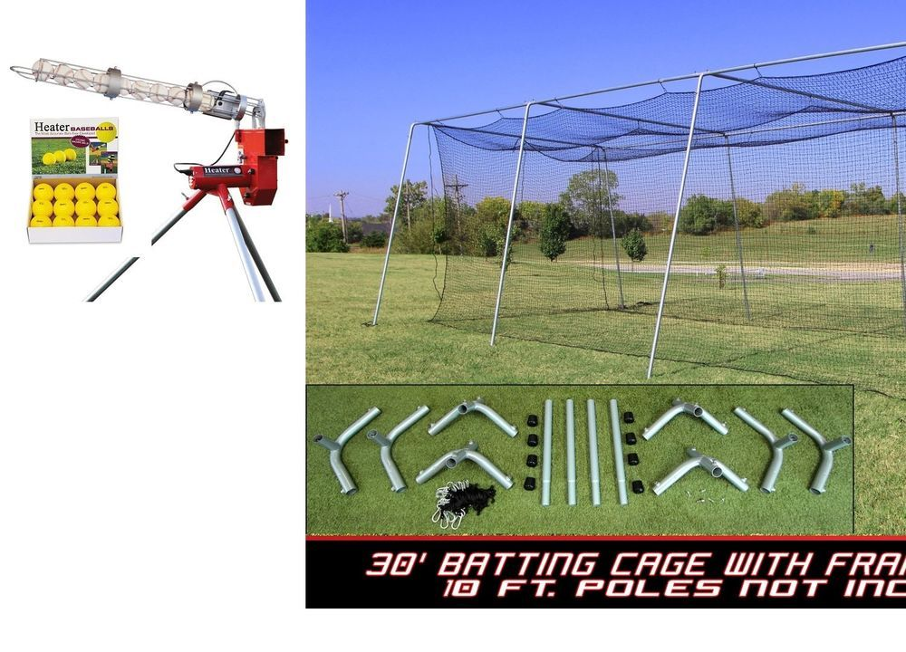 30X12X10 Batting Cage Net And Frame KIt With Heater Baseball ...