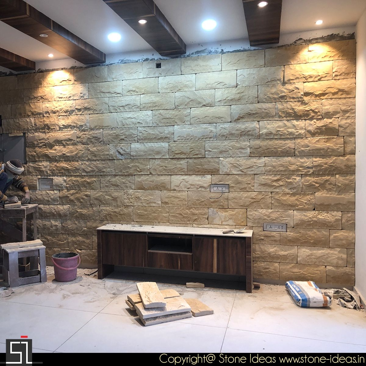 Pin On Tv Unit #stone #tiles #for #living #room #wall