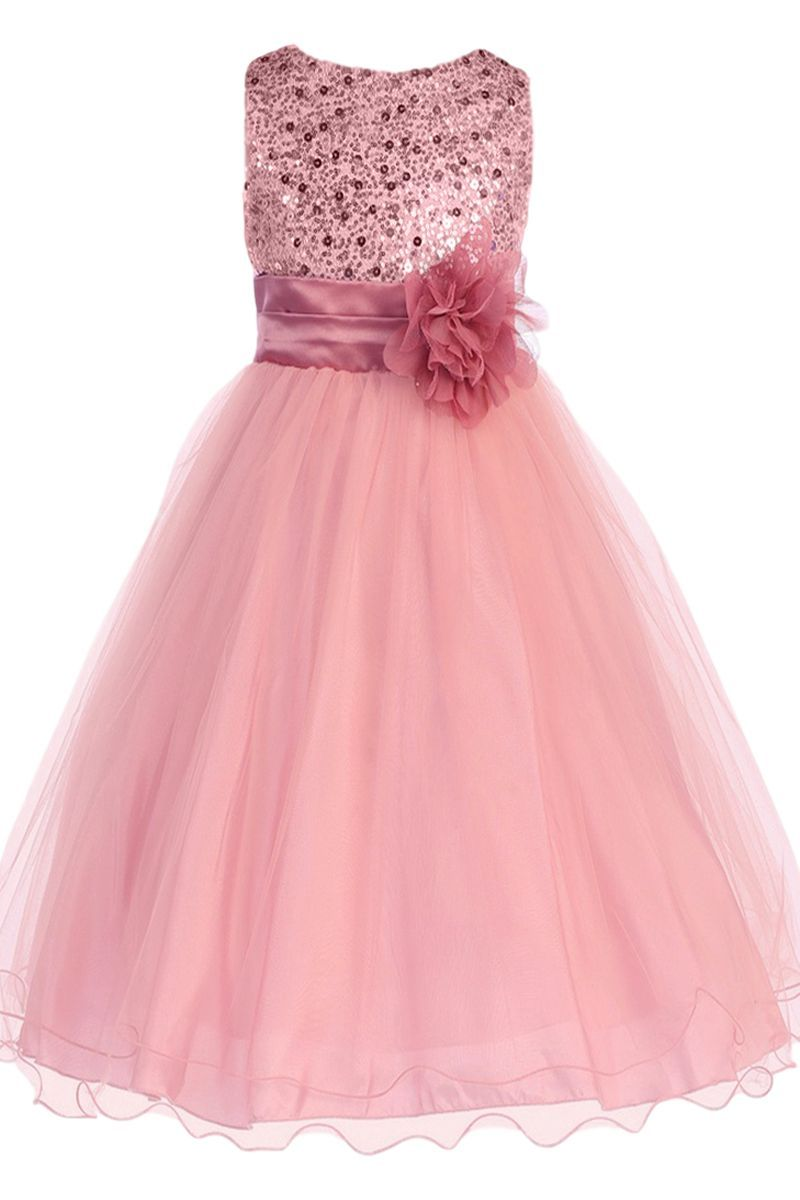 Rose Pink Sequin Dress w Lettuce Hem Tulle Skirt Girls T u Plus