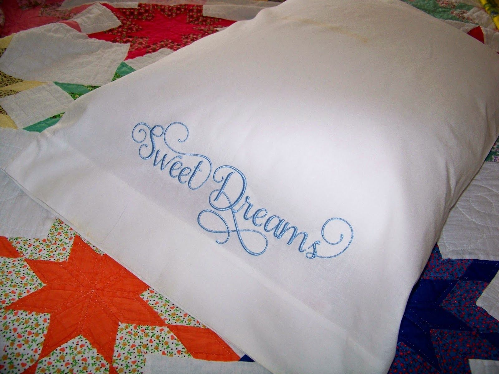 Embroidered pillowcases & Using a Jumbo Hoop and Splitting a Design! using 5x12 hoop on ... pillowsntoast.com