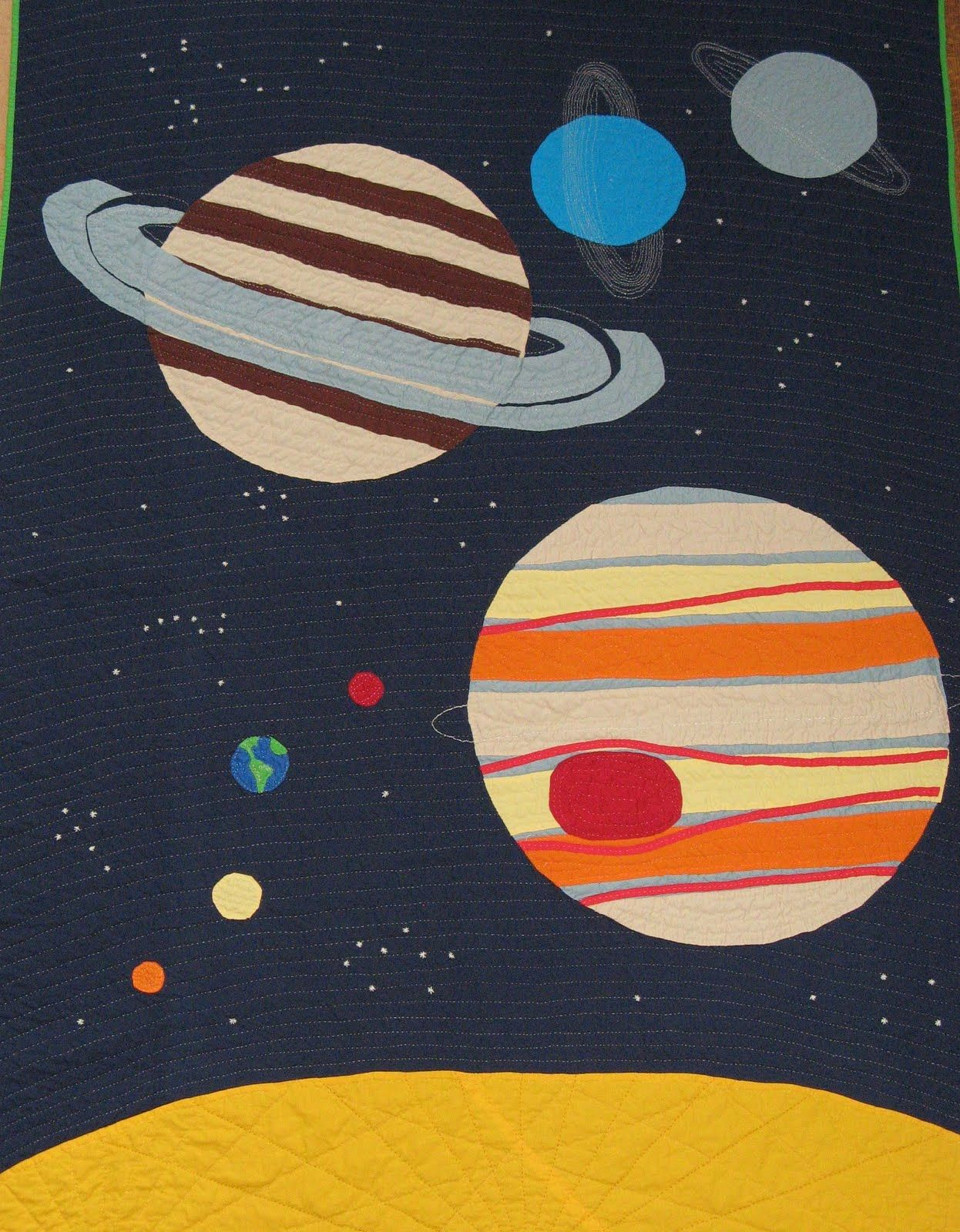 Handmade space quilt love it moon stars planets pinterest for Space quilt pattern