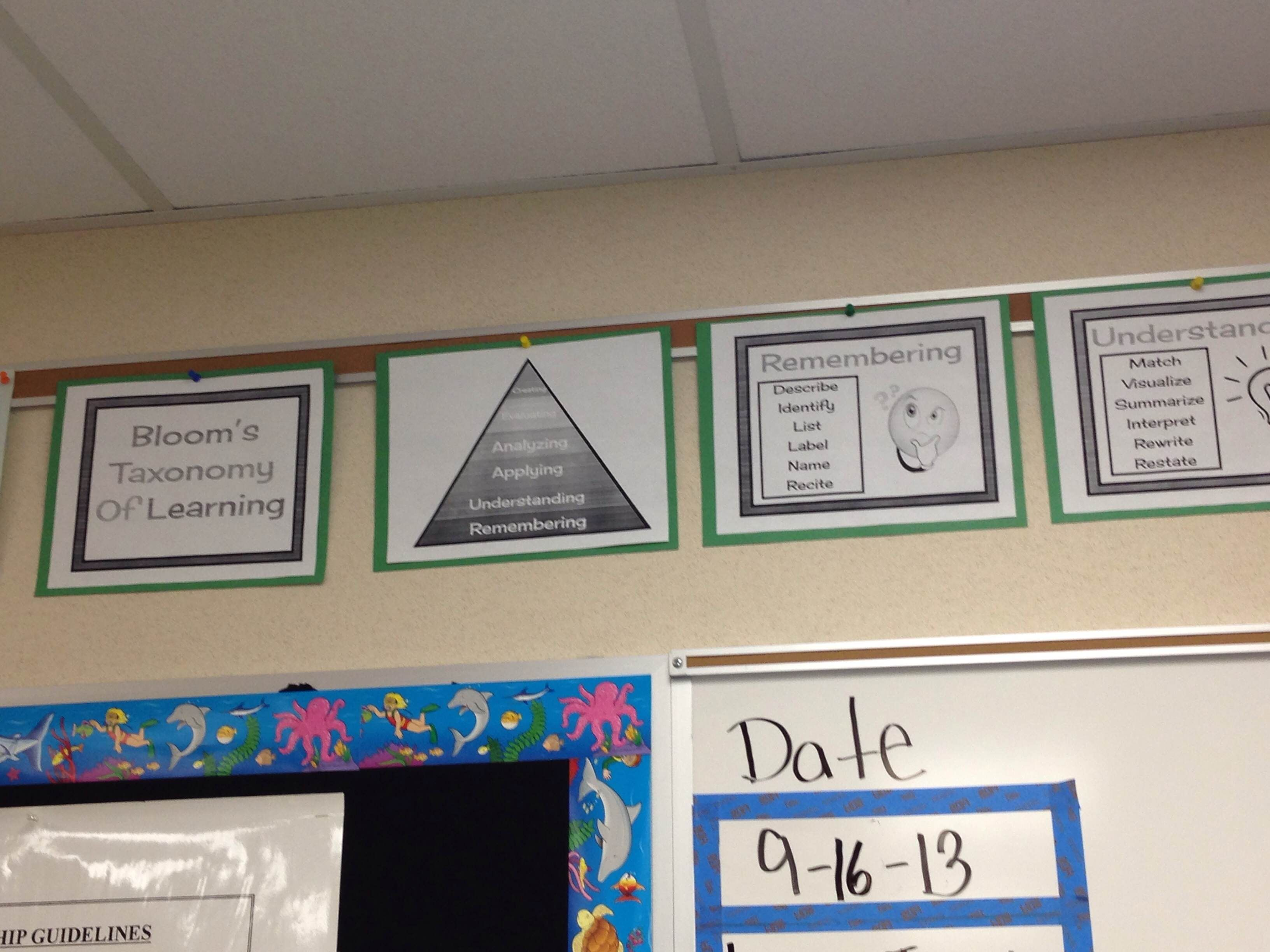 Bloom\'s taxonomy posters, question cards, and assignment