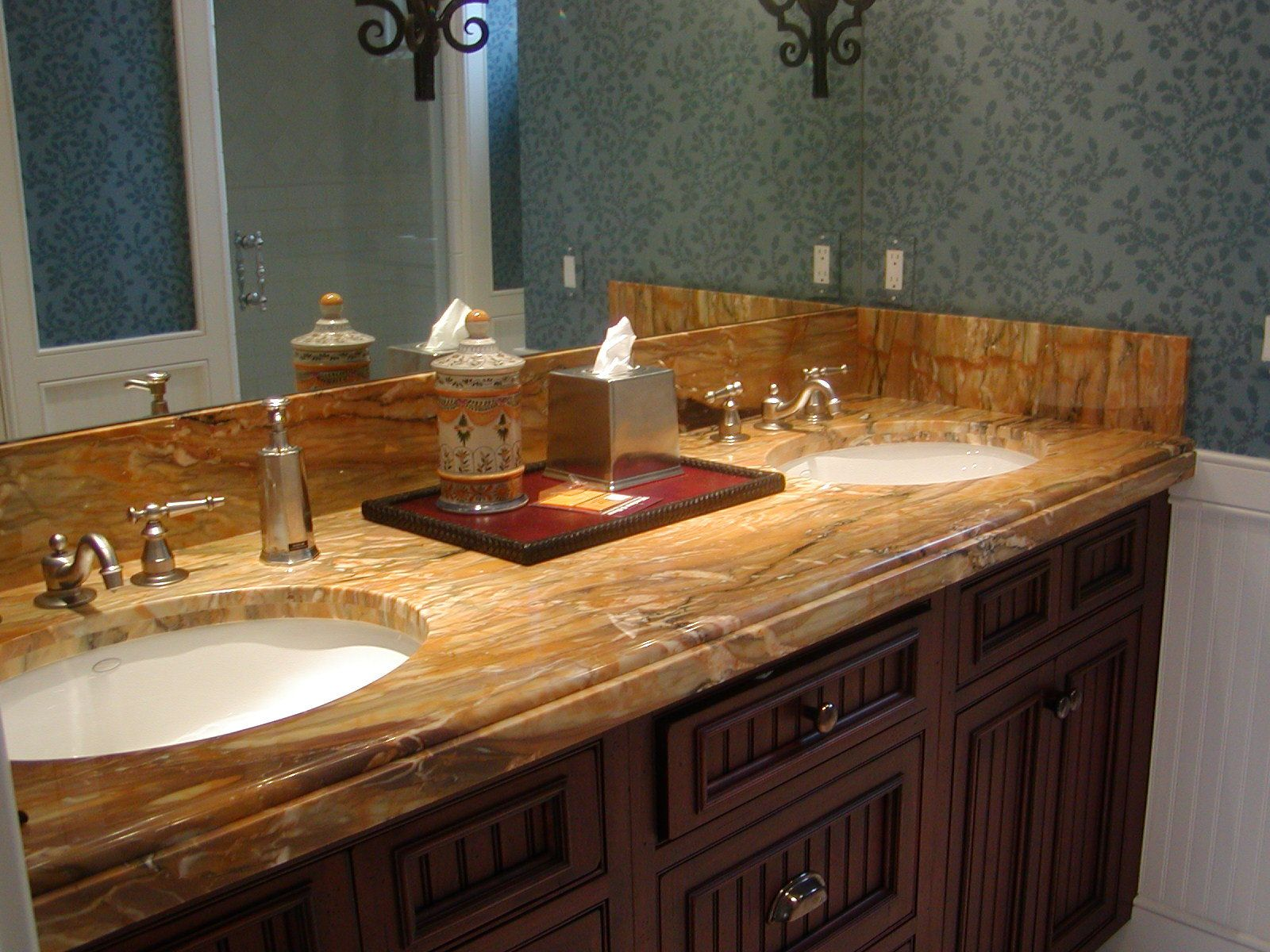 Sidesplash and how it meets up with the ogee edge on the - Custom bathroom countertops with sink ...