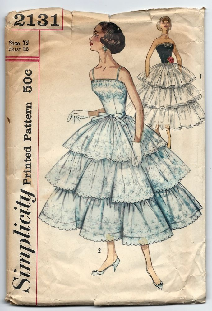 1950s Vintage Sewing Pattern Simplicity 2131 Layered Dress Prom ...