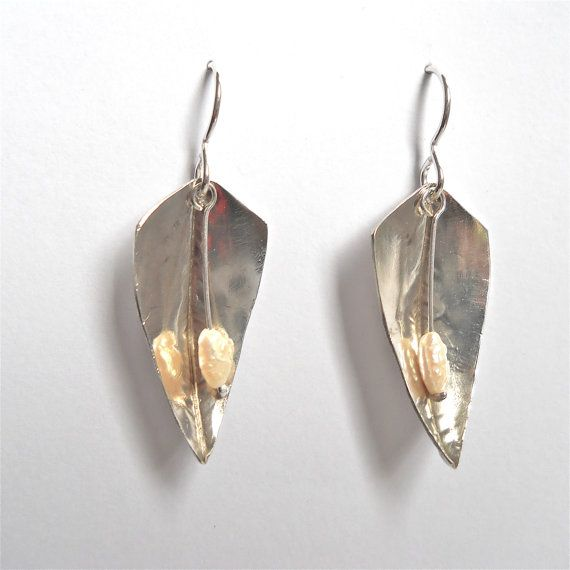 Silver Seed Pearl Earrings by EveClaireSilver on Etsy