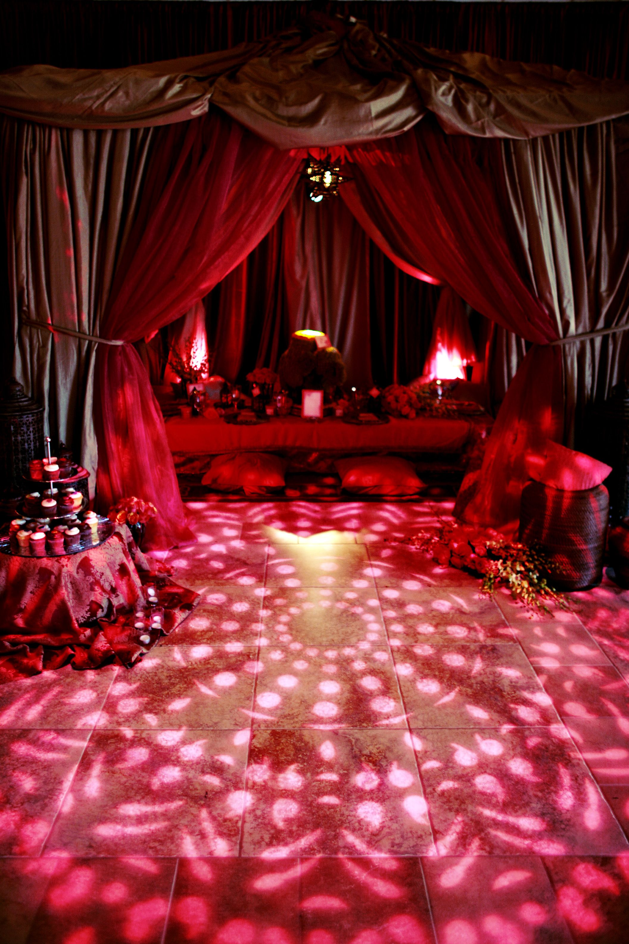 enhanced lighting created this indian themed multi layered tent and an indian inspired gobo was projected on the floor in front - Multi Canopy Decor