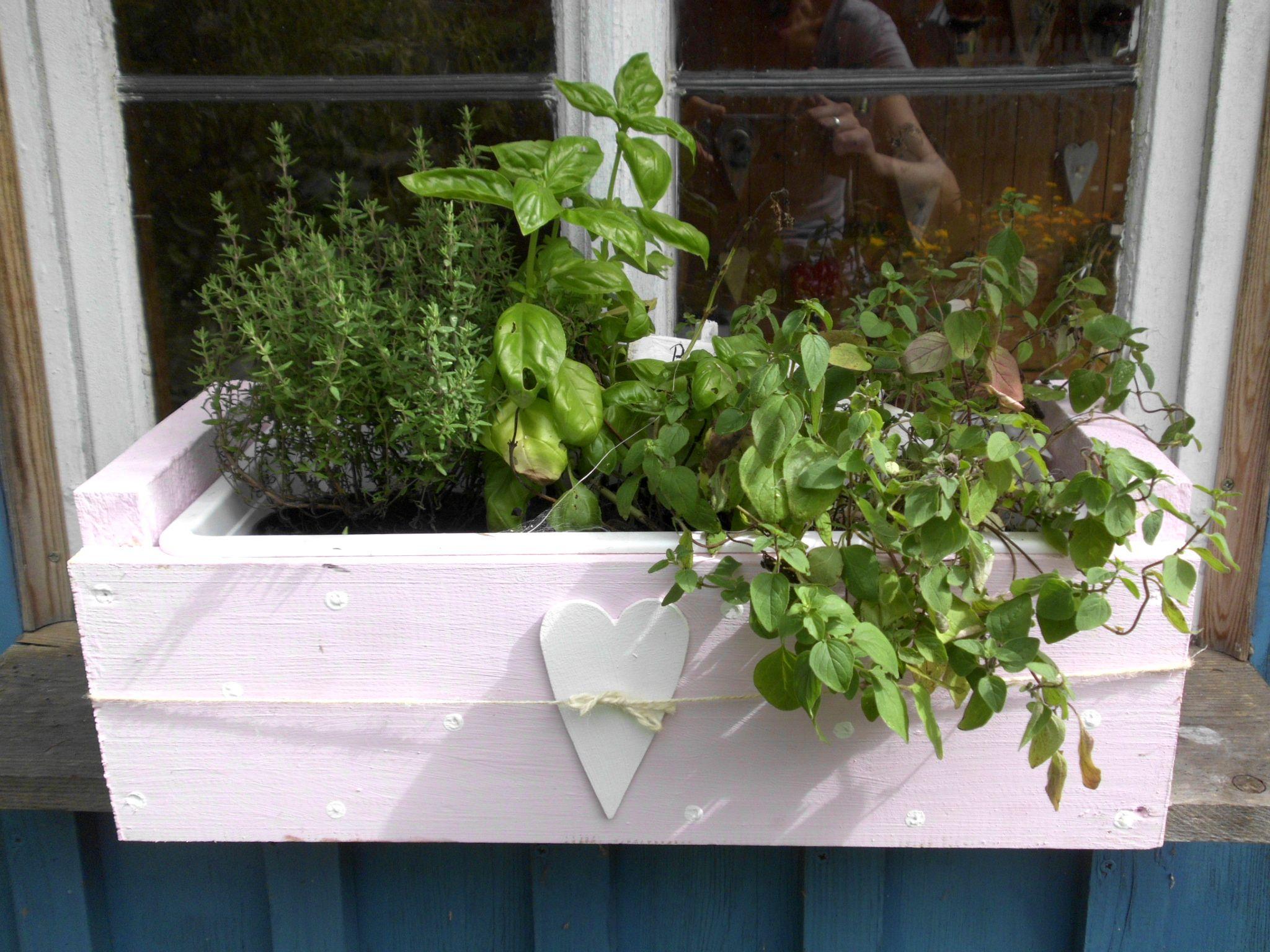 Blumenkasten Balkonkasten shabby rosa Garten gärtnern Herz