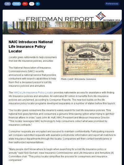 Friedman Report December 2016 National Life Insurance Life