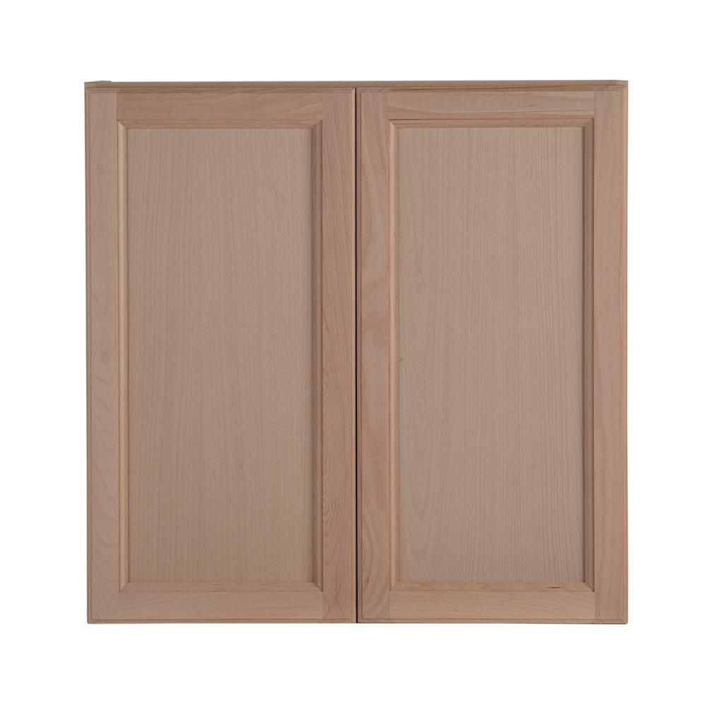 Hampton Bay Assembled 30x30x12 In Easthaven Wall Cabinet In Unfinished German Beech Eh3030w Gb Unfinished Kitchen Cabinets Wall Cabinet Natural Wood Kitchen