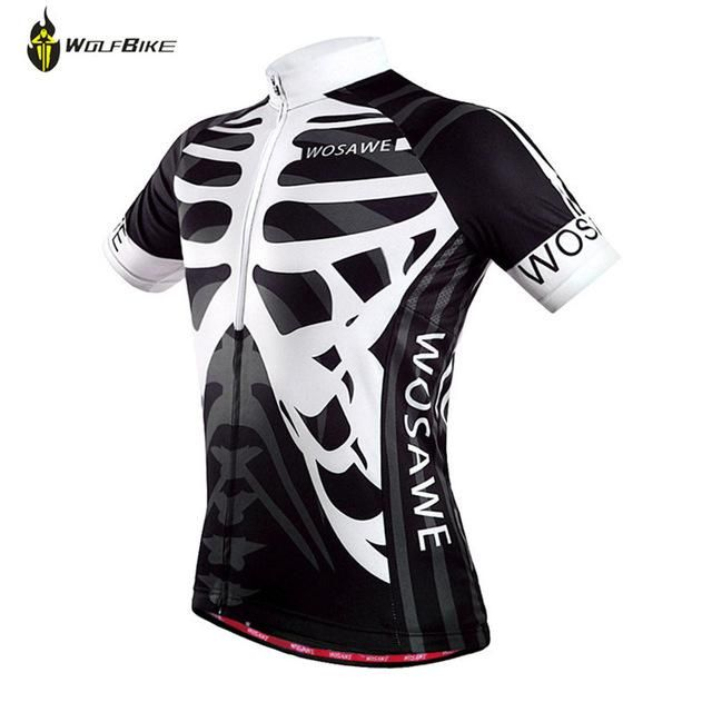 WOSAWE White Skull and Green Men Women s Short Sleeve Cycling Jersey ... a82f72750