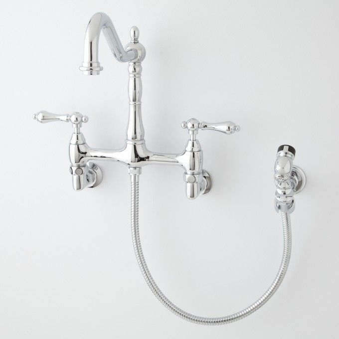 Felicity wall mount kitchen faucet with side spray for Laundry room faucets with sprayer